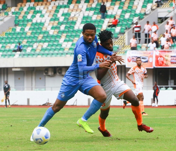 CHARLES ATSHIMENE, The combative forward in Action against Enyimba FC
